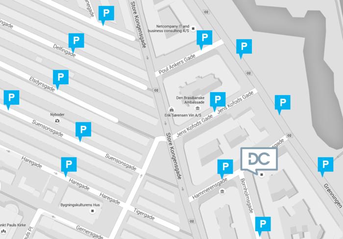 Kort med parkeringsmuligheder ved Hammerensgade, København