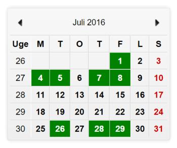 Månedskalender med grønne markeringer