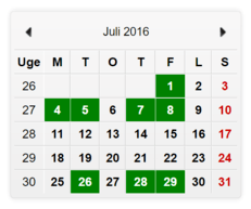 Månedskalender med grønne markeringer af ledige tider