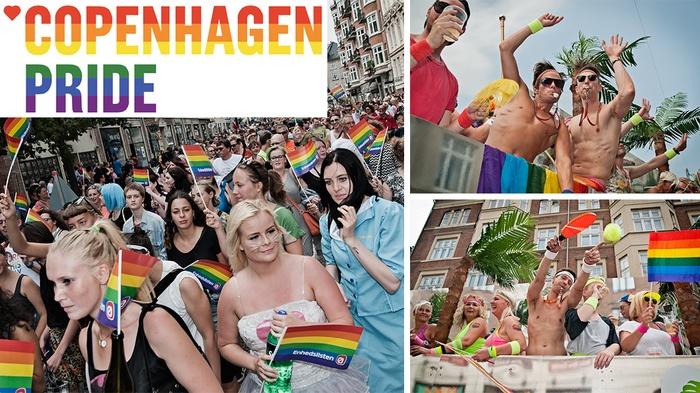 Copenhagen Pride kollage, logo og festende folk