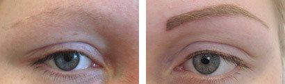Øjenbryn før og efter permanent makeup