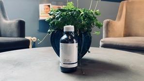 Lille flaske på bord med blomst